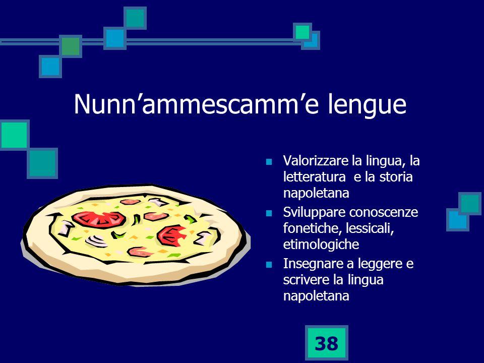 38 Nunn'ammescamm'e lengue Valorizzare la lingua, la letteratura e la storia napoletana Sviluppare conoscenze fonetiche, lessicali, etimologiche Insegnare a leggere e scrivere la lingua napoletana