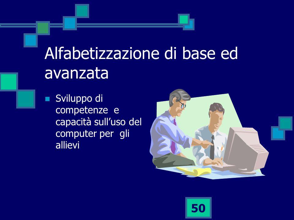 50 Alfabetizzazione di base ed avanzata Sviluppo di competenze e capacità sull'uso del computer per gli allievi
