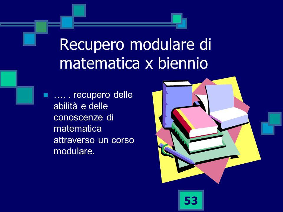 53 Recupero modulare di matematica x biennio …..