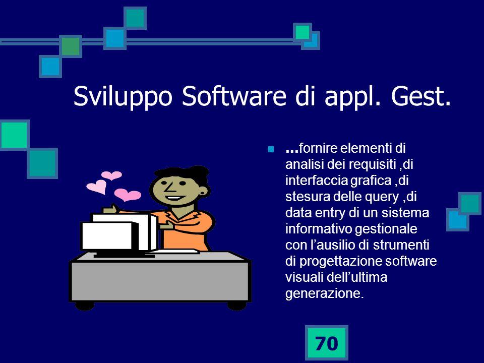 70 Sviluppo Software di appl.Gest.