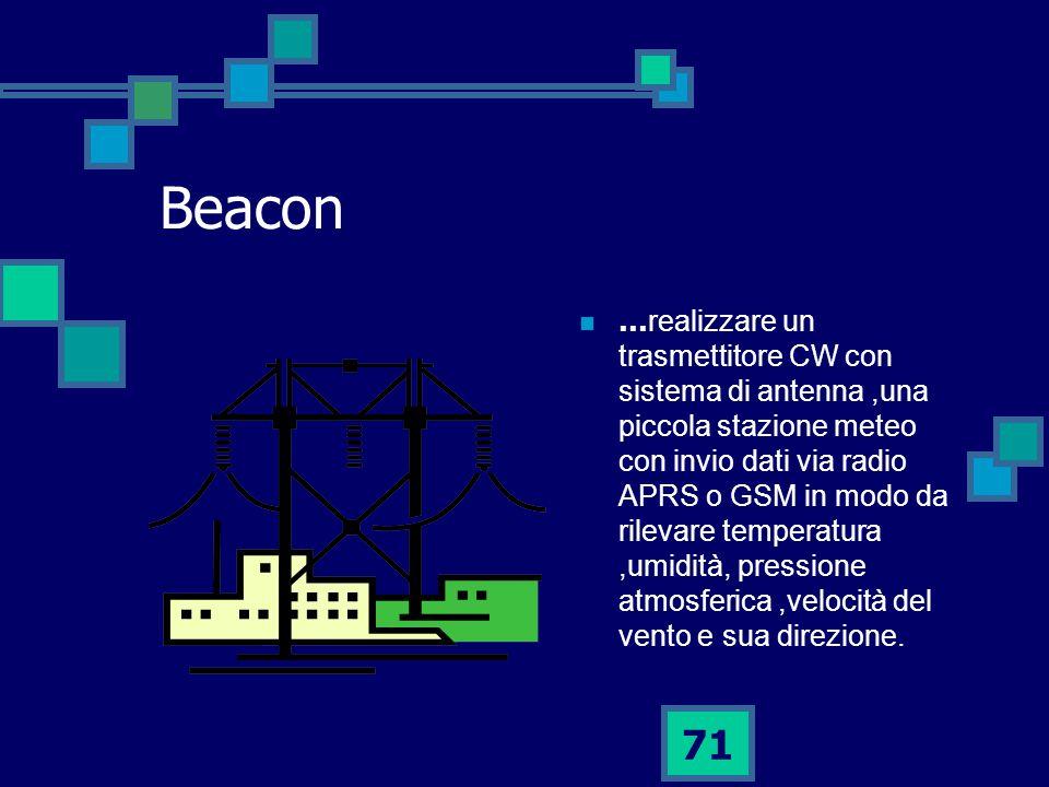 71 Beacon … realizzare un trasmettitore CW con sistema di antenna,una piccola stazione meteo con invio dati via radio APRS o GSM in modo da rilevare temperatura,umidità, pressione atmosferica,velocità del vento e sua direzione.