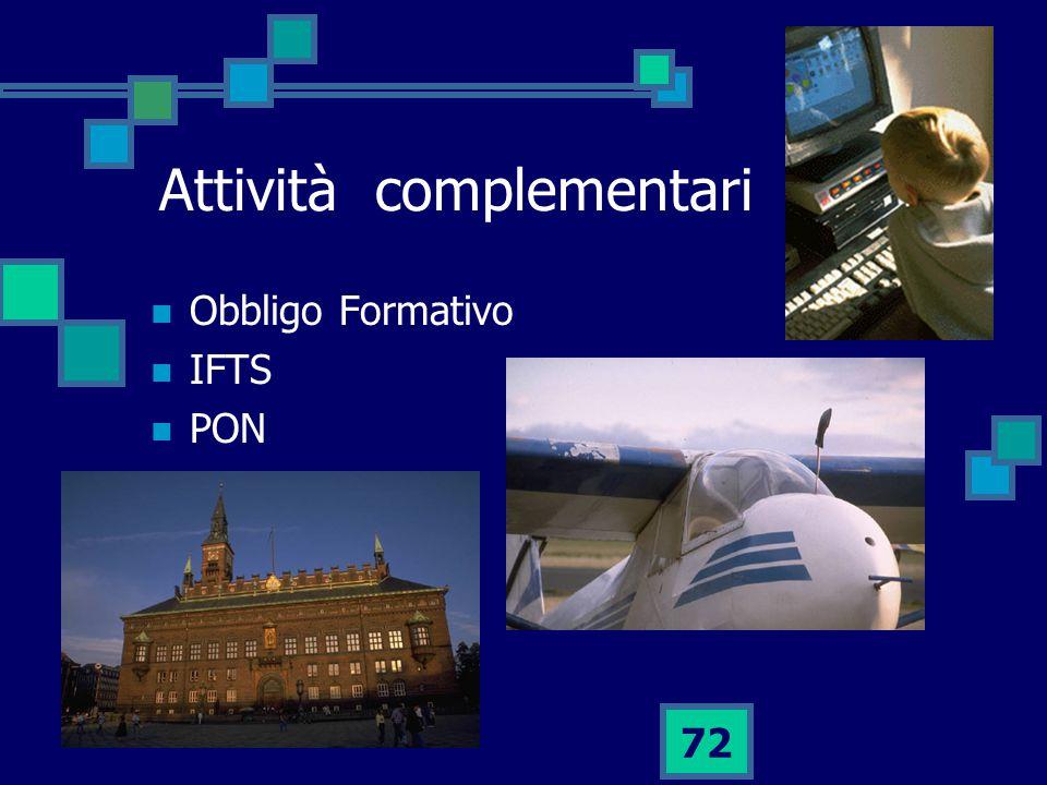72 Attività complementari Obbligo Formativo IFTS PON