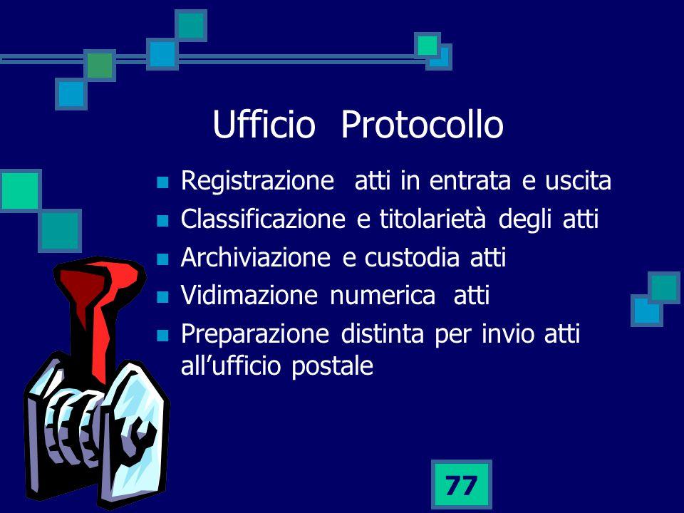 77 Ufficio Protocollo Registrazione atti in entrata e uscita Classificazione e titolarietà degli atti Archiviazione e custodia atti Vidimazione numerica atti Preparazione distinta per invio atti all'ufficio postale