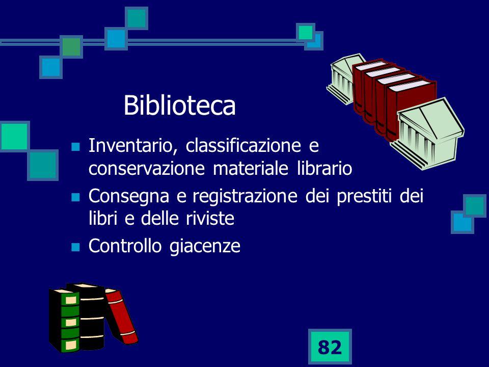 82 Biblioteca Inventario, classificazione e conservazione materiale librario Consegna e registrazione dei prestiti dei libri e delle riviste Controllo giacenze