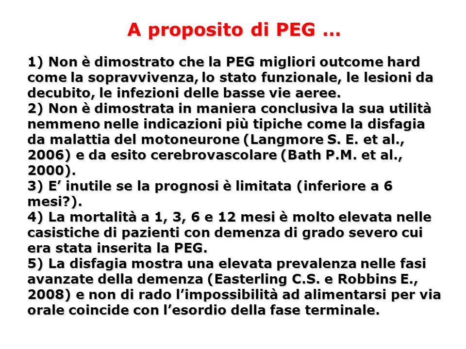 A proposito di PEG … 1) Non è dimostrato che la PEG migliori outcome hard come la sopravvivenza, lo stato funzionale, le lesioni da decubito, le infez
