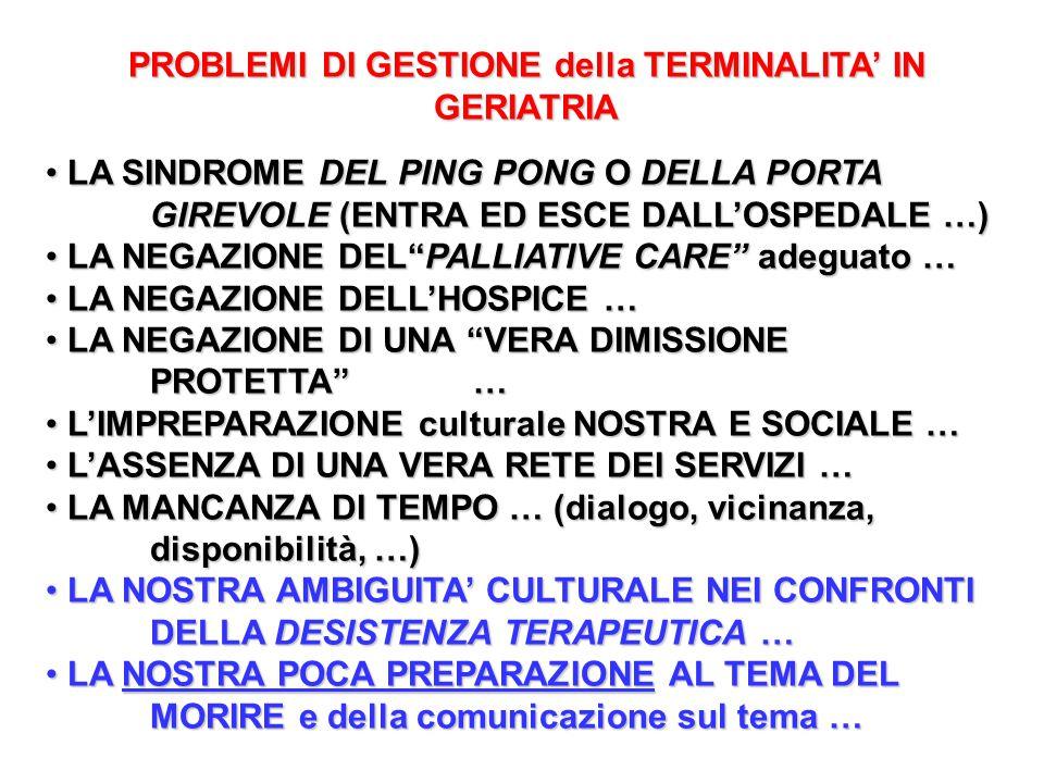 PROBLEMI DI GESTIONE della TERMINALITA' IN GERIATRIA LA SINDROME DEL PING PONG O DELLA PORTA GIREVOLE (ENTRA ED ESCE DALL'OSPEDALE …) LA SINDROME DEL