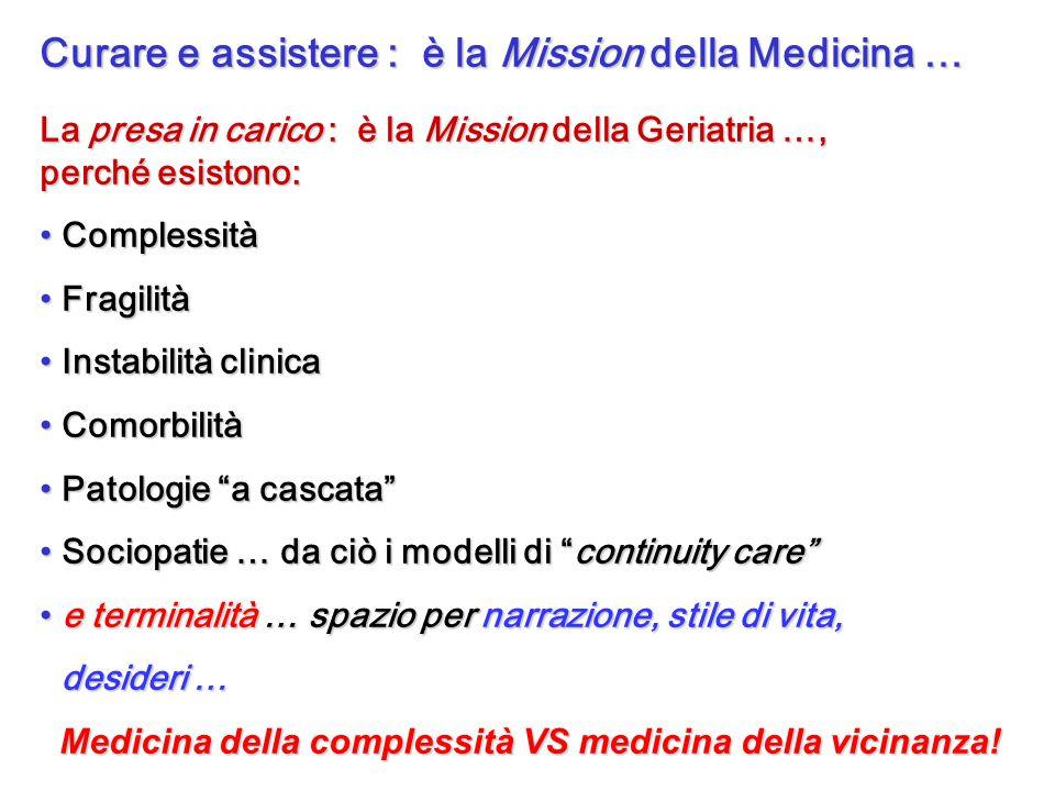 Curare e assistere : è la Mission della Medicina … La presa in carico : è la Mission della Geriatria …, perché esistono: Complessità Complessità Fragi