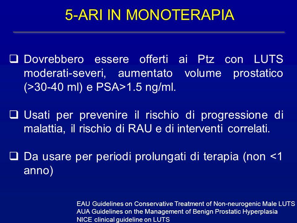  Dovrebbero essere offerti ai Ptz con LUTS moderati-severi, aumentato volume prostatico (>30-40 ml) e PSA>1.5 ng/ml.  Usati per prevenire il rischio