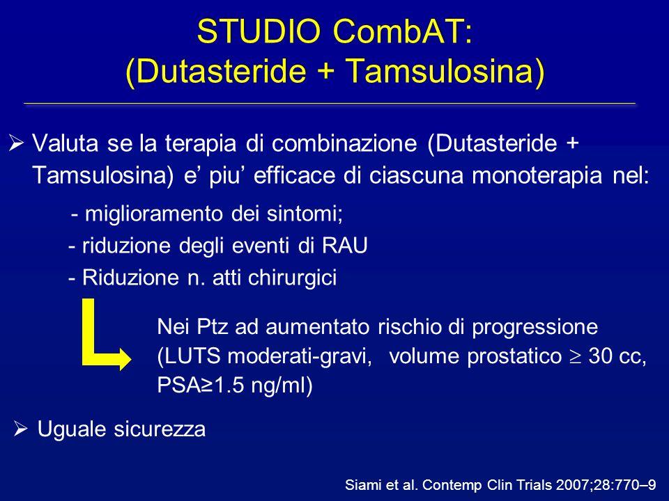 Siami et al. Contemp Clin Trials 2007;28:770–9 STUDIO CombAT: (Dutasteride + Tamsulosina)  Valuta se la terapia di combinazione (Dutasteride + Tamsul