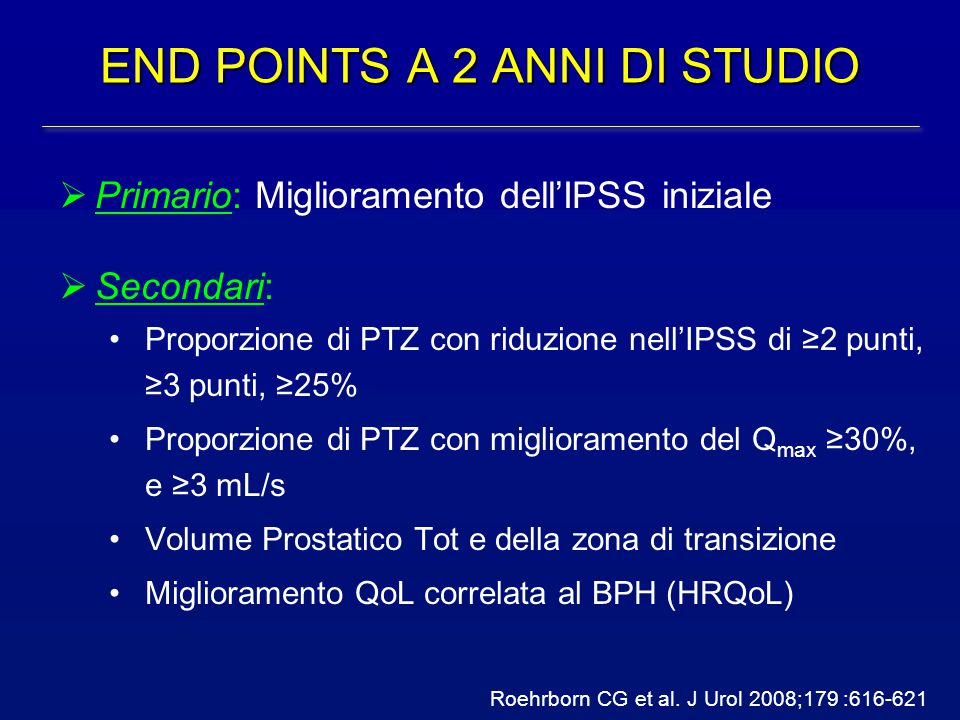 END POINTS A 2 ANNI DI STUDIO  Primario: Miglioramento dell'IPSS iniziale  Secondari: Proporzione di PTZ con riduzione nell'IPSS di ≥2 punti, ≥3 pun
