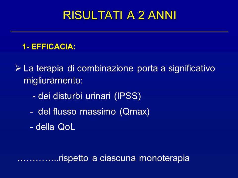 RISULTATI A 2 ANNI  La terapia di combinazione porta a significativo miglioramento: - dei disturbi urinari (IPSS) - del flusso massimo (Qmax) - della