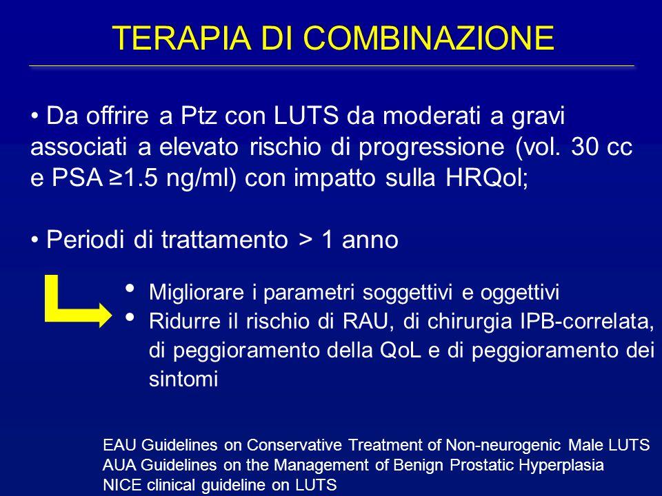 Da offrire a Ptz con LUTS da moderati a gravi associati a elevato rischio di progressione (vol. 30 cc e PSA ≥1.5 ng/ml) con impatto sulla HRQol; Perio