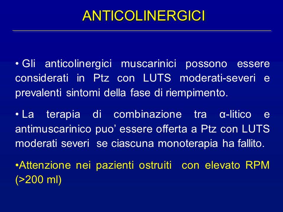 ANTICOLINERGICIANTICOLINERGICI Gli anticolinergici muscarinici possono essere considerati in Ptz con LUTS moderati-severi e prevalenti sintomi della f