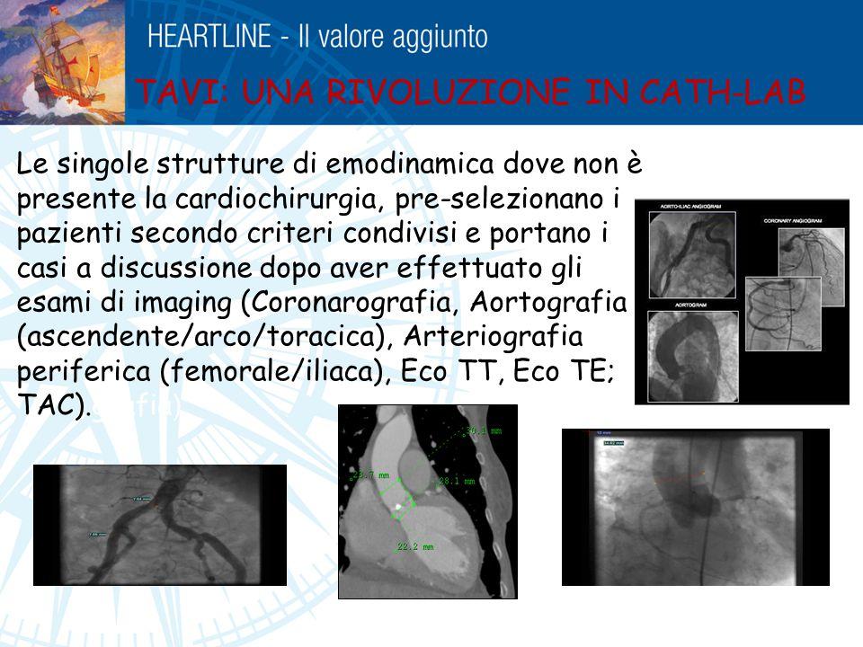 TAVI: UNA RIVOLUZIONE IN CATH-LAB Le singole strutture di emodinamica dove non è presente la cardiochirurgia, pre-selezionano i pazienti secondo crite