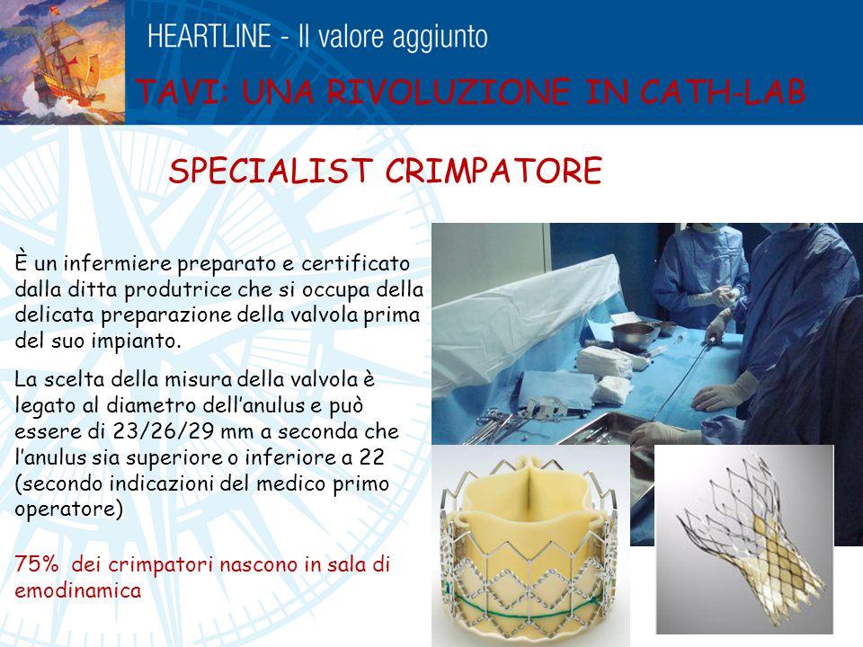 TAVI: UNA RIVOLUZIONE IN CATH-LAB SPECIALIST CRIMPATORE È un infermiere preparato e certificato dalla ditta produtrice che si occupa della delicata pr