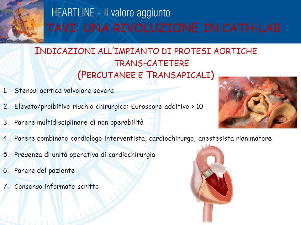 TAVI: UNA RIVOLUZIONE IN CATH-LAB I NDICAZIONI ALL ' IMPIANTO DI PROTESI AORTICHE TRANS - CATETERE (P ERCUTANEE E T RANSAPICALI ) 1.Stenosi aortica va