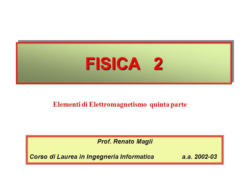 FISICA 2 Prof. Renato Magli Corso di Laurea in Ingegneria Informatica a.a. 2002-03 Elementi di Elettromagnetismo quinta parte