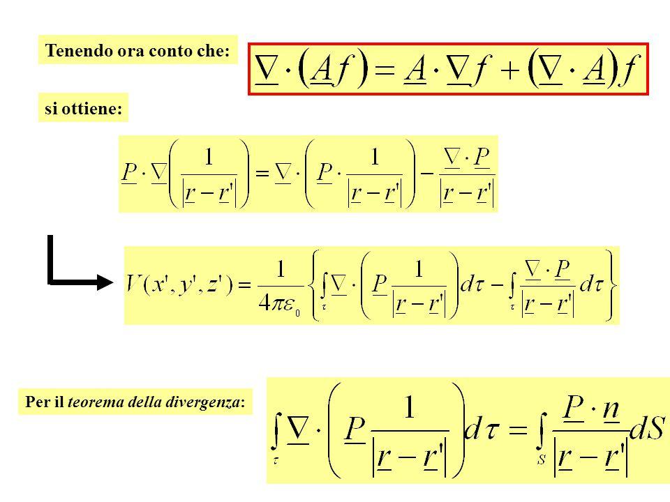 Tenendo ora conto che: si ottiene: Per il teorema della divergenza: