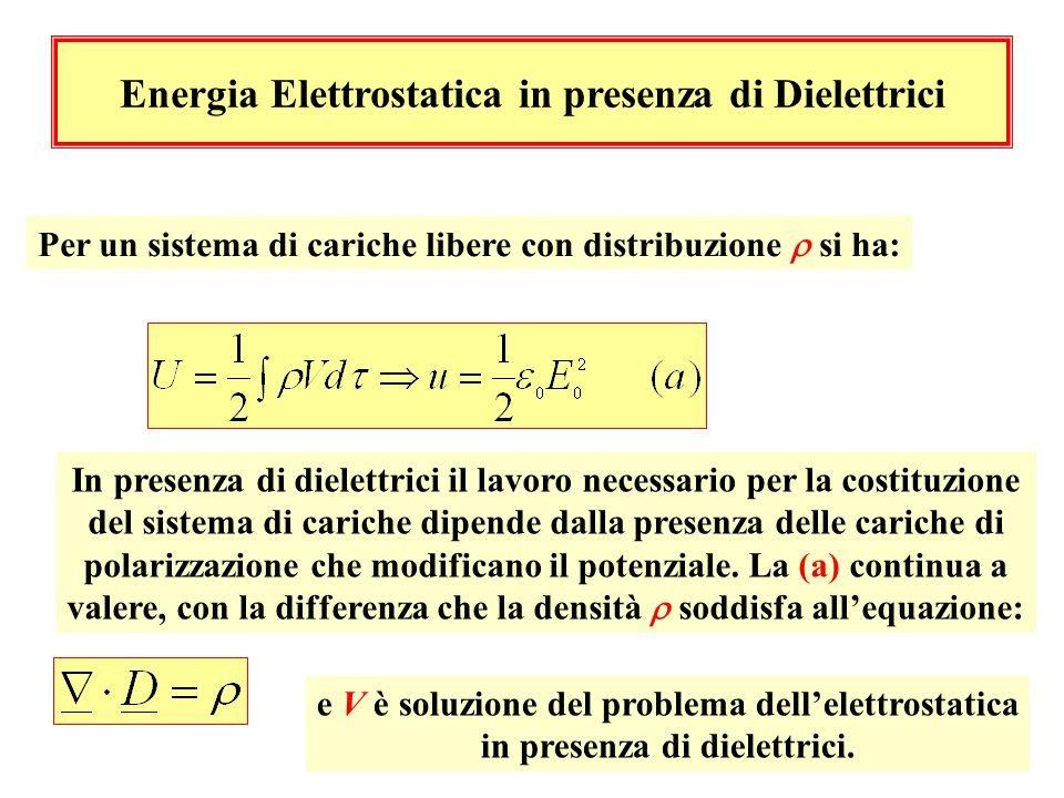 Energia Elettrostatica in presenza di Dielettrici Per un sistema di cariche libere con distribuzione  si ha: In presenza di dielettrici il lavoro nec