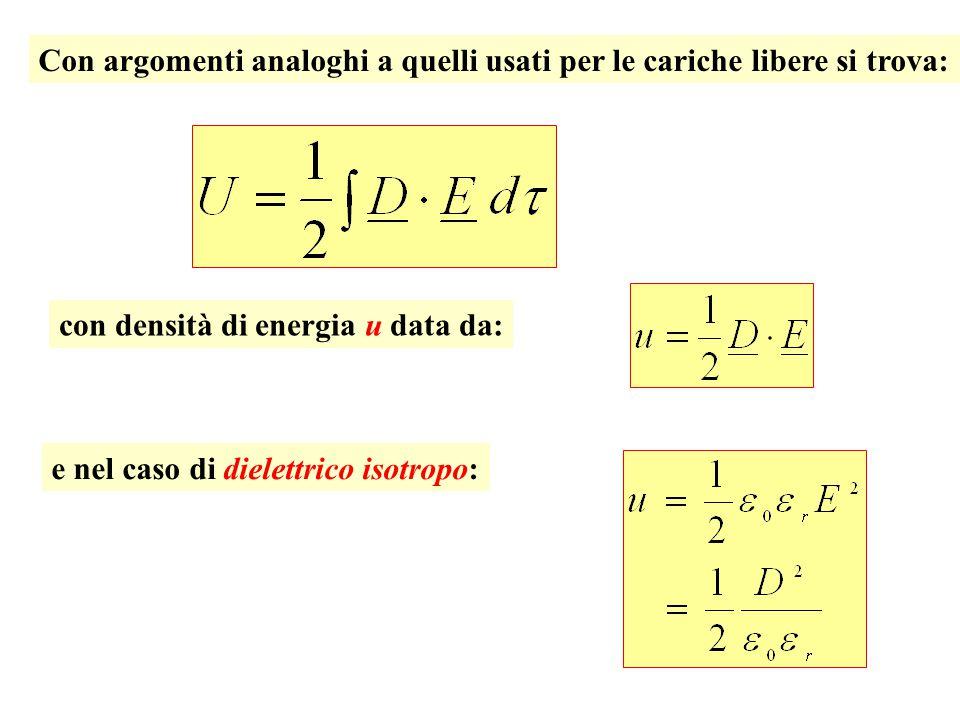 Con argomenti analoghi a quelli usati per le cariche libere si trova: con densità di energia u data da: e nel caso di dielettrico isotropo: