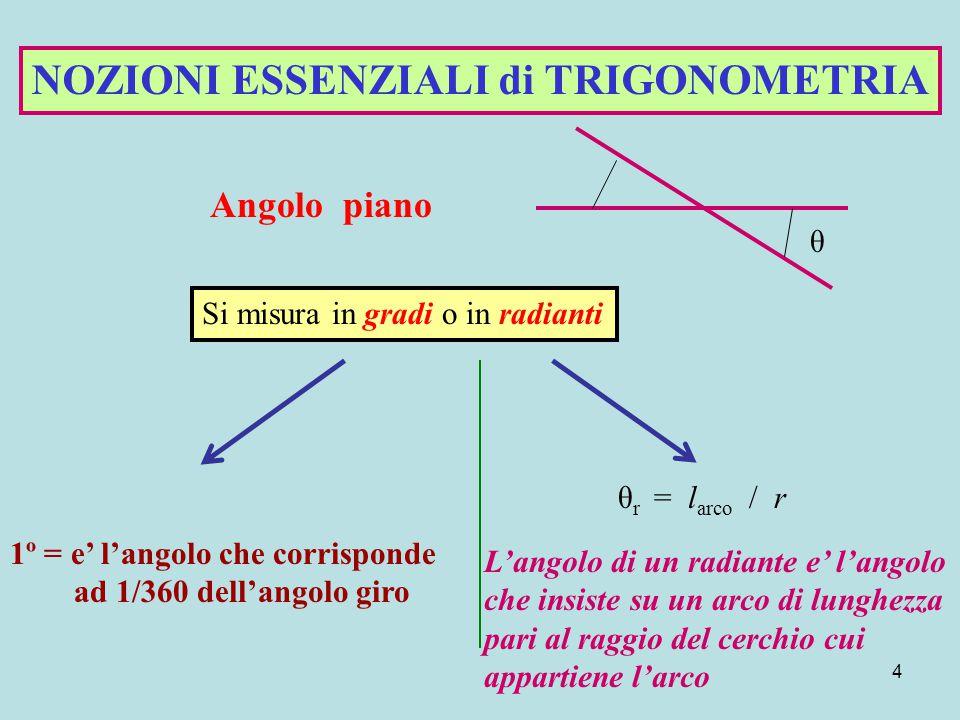 4 θ NOZIONI ESSENZIALI di TRIGONOMETRIA Angolo piano Si misura in gradi o in radianti 1º = e' l'angolo che corrisponde ad 1/360 dell'angolo giro θ r = l arco / r L'angolo di un radiante e' l'angolo che insiste su un arco di lunghezza pari al raggio del cerchio cui appartiene l'arco