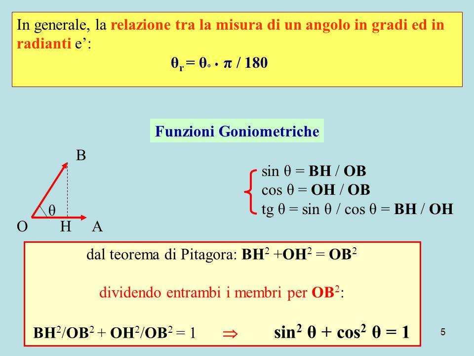 5 In generale, la relazione tra la misura di un angolo in gradi ed in radianti e': θ r = θ º π / 180 A B O θ H Funzioni Goniometriche sin θ = BH / OB cos θ = OH / OB tg θ = sin θ / cos θ = BH / OH dal teorema di Pitagora: BH 2 +OH 2 = OB 2 dividendo entrambi i membri per OB 2 : BH 2 /OB 2 + OH 2 /OB 2 = 1  sin 2 θ + cos 2 θ = 1
