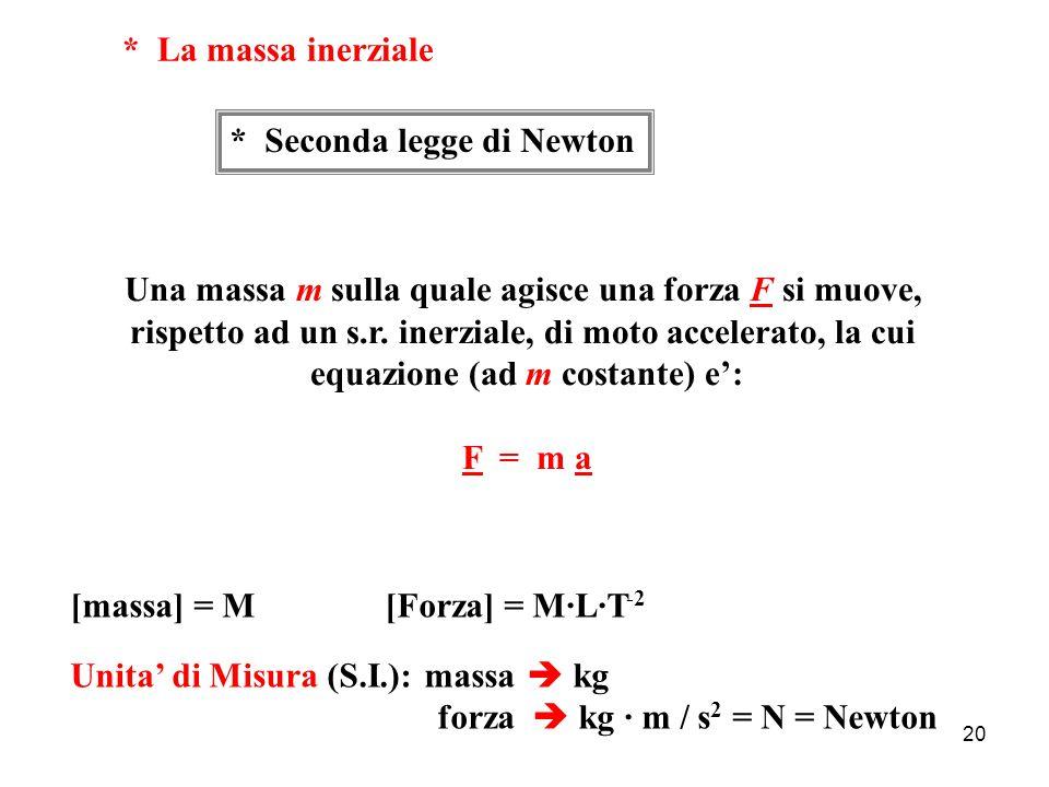 19 Prima legge di Newton (principio di inerzia) Un corpo qualunque che, osservato da un s.r.