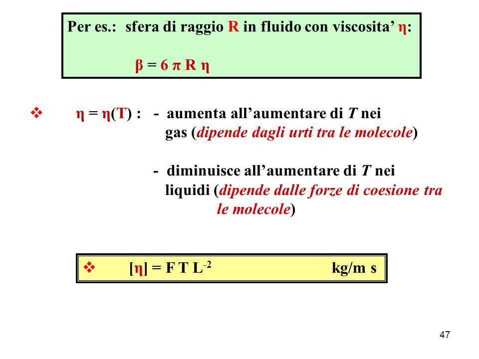 46  Attrito volvente Resistenza al rotolamento di un cilindro (o una sfera) su un piano  Attrito viscoso  viscosita'  corpo in movimento in un fluido: si manifesta una forza resistiva, opposta al verso del moto e, per velocita' non elevate, proporzionale alla velocita': F vis = - β v  β dipende dalle dimensioni e dalla forma del corpo e dalla natura del fluido