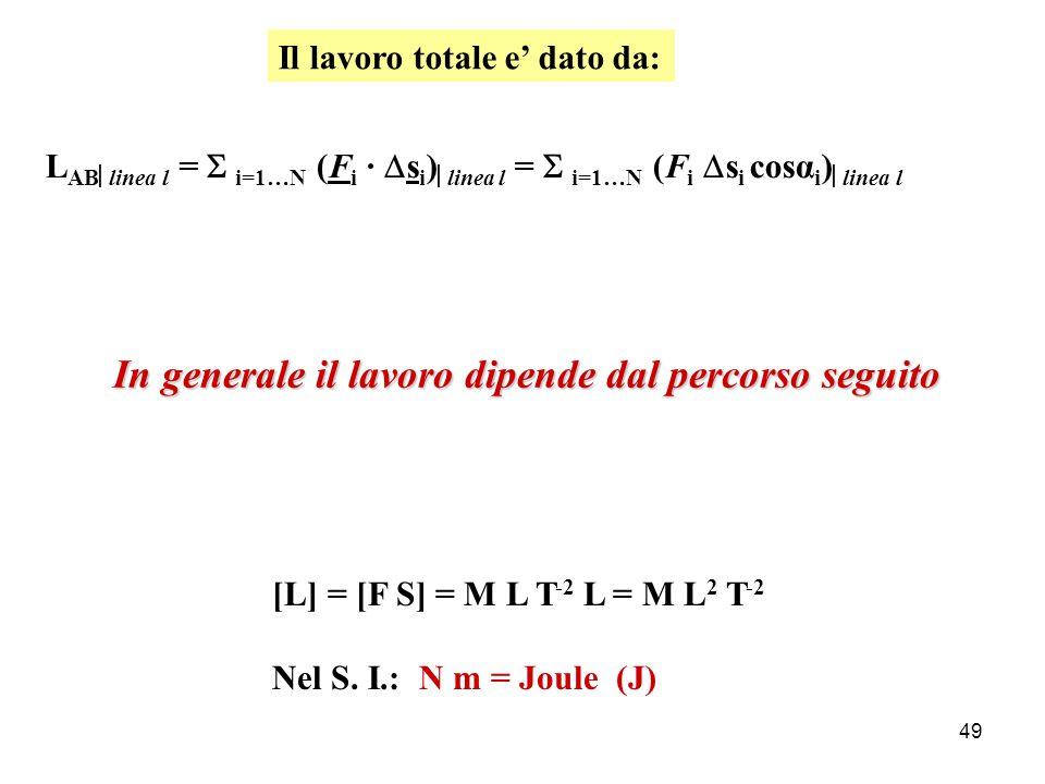 48 Lavoro ed Energia A B Linea l m FiFi sisi αiαi Suddivido il percorso da A a B in N spostamenti  s i, con i = 1,…, N:  L i = F i ·  s i = F i  s i cosα i NB: se F i e  s i sono perpendicolari (F i   s i ):  α i = π/2  cos α i = 0   L i = 0