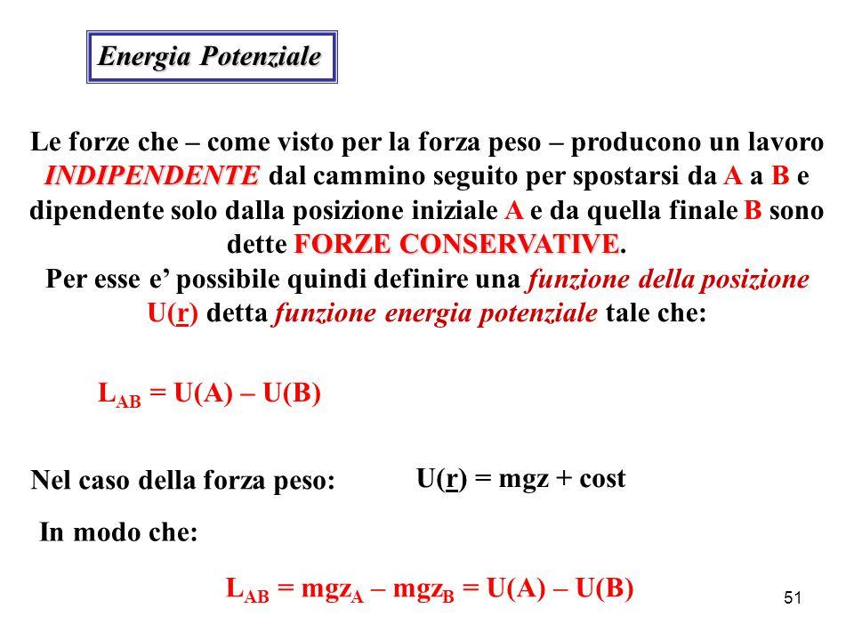 50 Lavoro della Forza Peso z x O i kA B l mgmg sisi mg = - mg k  s i =  x i i +  z i k sisi  z i k xi ixi i L Ab  l = (  mg ·  s i ) l = - mg (  k ·  s i ) l = - mg [  k · (  x i i+  z i k)] l = - mg (   z i ) l  L Ab  l = - mg (z B – z A ) = mg z A – mg z B Il lavoro della forza peso NON dipende dal cammino seguito dalla massa per spostarsi da A a B, ma solo dalla differenza di quota tra A e B