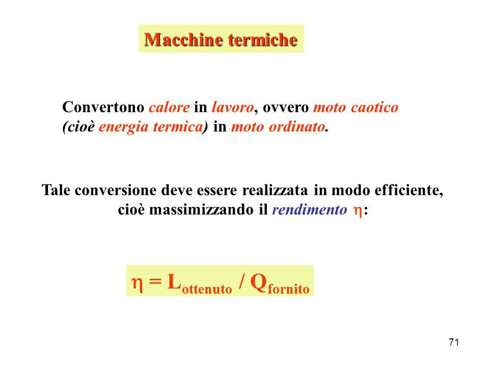 70 D'altra parte: Q – L = -  U amb  U sis = -  U amb U sis + U amb = costante Principio di conservazione dell'energia