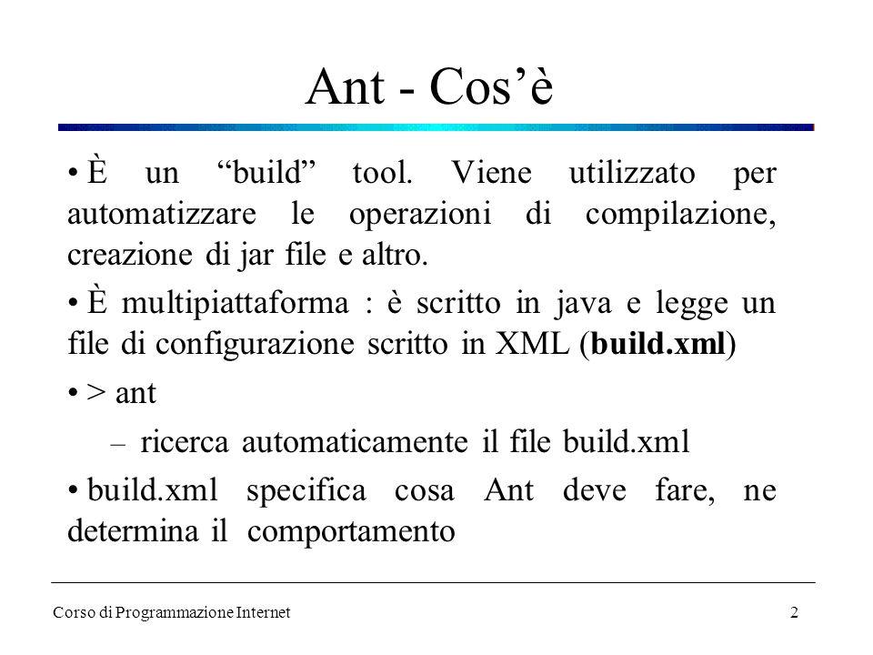 """2 Ant - Cos'è È un """"build"""" tool. Viene utilizzato per automatizzare le operazioni di compilazione, creazione di jar file e altro. È multipiattaforma :"""