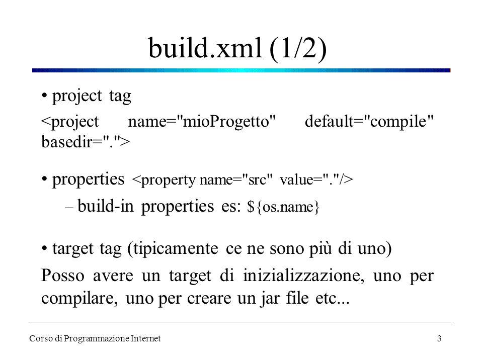 3 build.xml (1/2) project tag properties – build-in properties es: ${os.name} target tag (tipicamente ce ne sono più di uno) Posso avere un target di