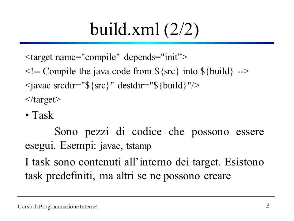 4 build.xml (2/2) Task Sono pezzi di codice che possono essere esegui. Esempi: javac, tstamp I task sono contenuti all'interno dei target. Esistono ta