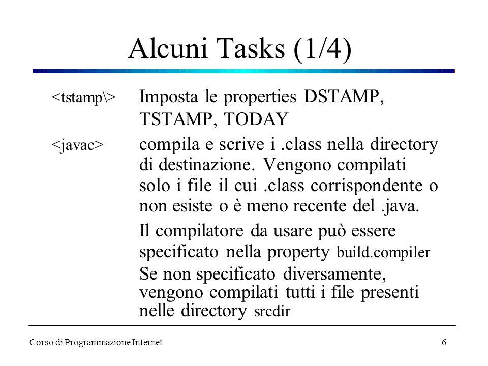 6 Alcuni Tasks (1/4) Imposta le properties DSTAMP, TSTAMP, TODAY compila e scrive i.class nella directory di destinazione. Vengono compilati solo i fi