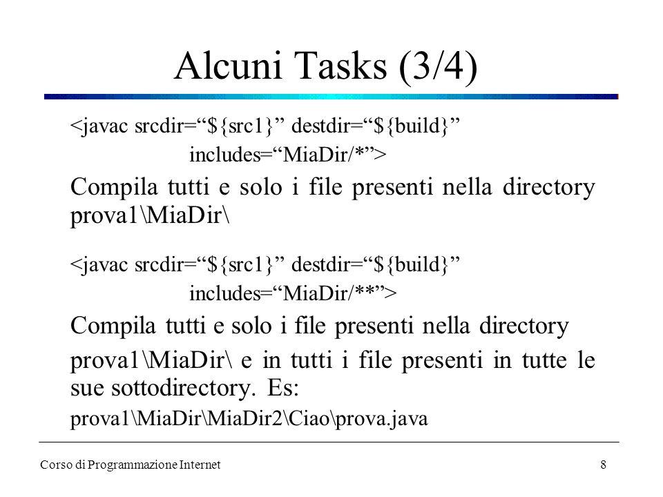 """8 Alcuni Tasks (3/4) <javac srcdir=""""${src1}"""" destdir=""""${build}"""" includes=""""MiaDir/*""""> Compila tutti e solo i file presenti nella directory prova1\MiaDi"""