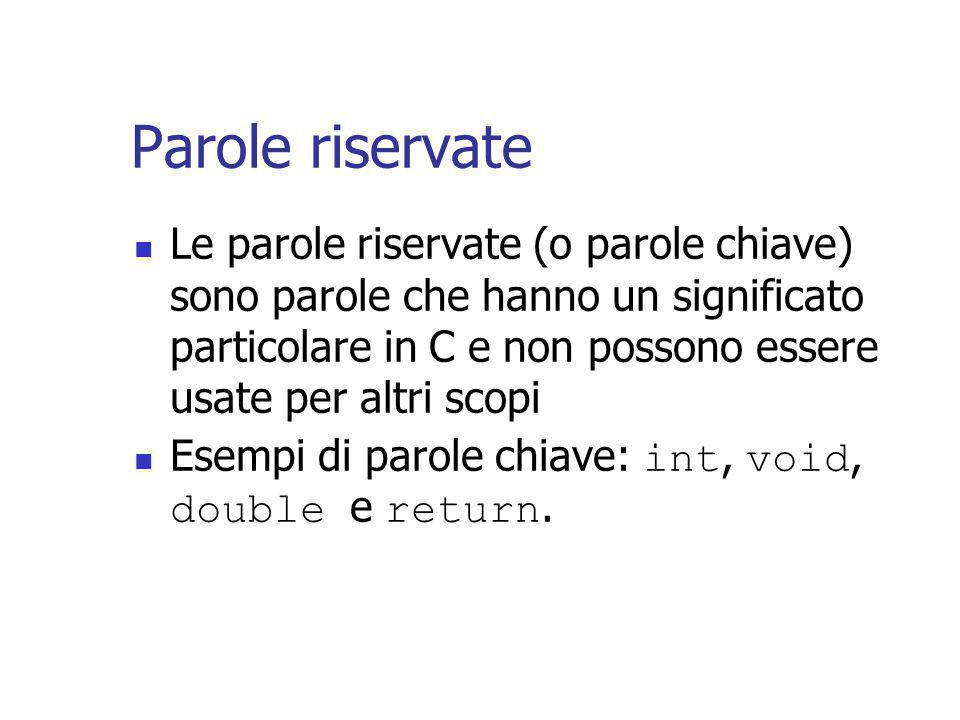 Parole riservate Le parole riservate (o parole chiave) sono parole che hanno un significato particolare in C e non possono essere usate per altri scopi Esempi di parole chiave: int, void, double e return.