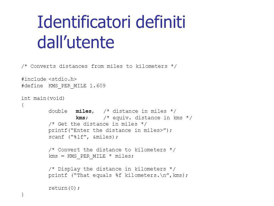 Identificatori definiti dall'utente /* Converts distances from miles to kilometers */ #include #defineKMS_PER_MILE 1.609 int main(void) { double miles,/* distance in miles */ kms;/* equiv.