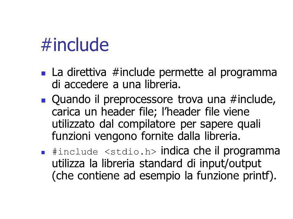 #include La direttiva #include permette al programma di accedere a una libreria.