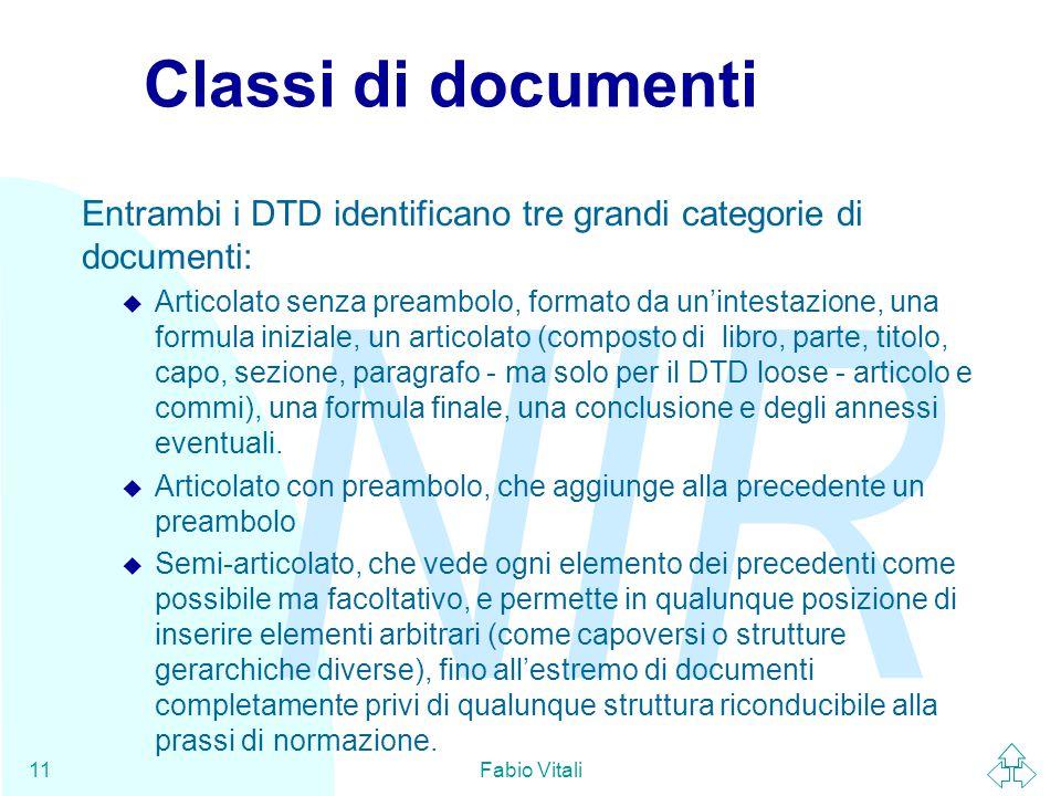 NIR Fabio Vitali11 Classi di documenti Entrambi i DTD identificano tre grandi categorie di documenti: u Articolato senza preambolo, formato da un'inte