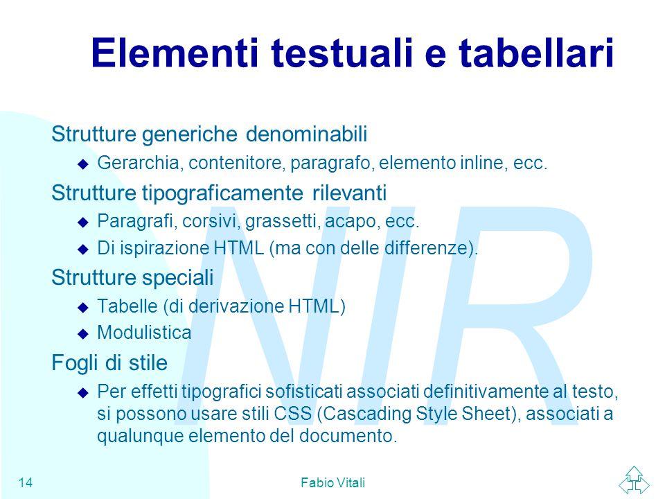 NIR Fabio Vitali14 Elementi testuali e tabellari Strutture generiche denominabili u Gerarchia, contenitore, paragrafo, elemento inline, ecc. Strutture