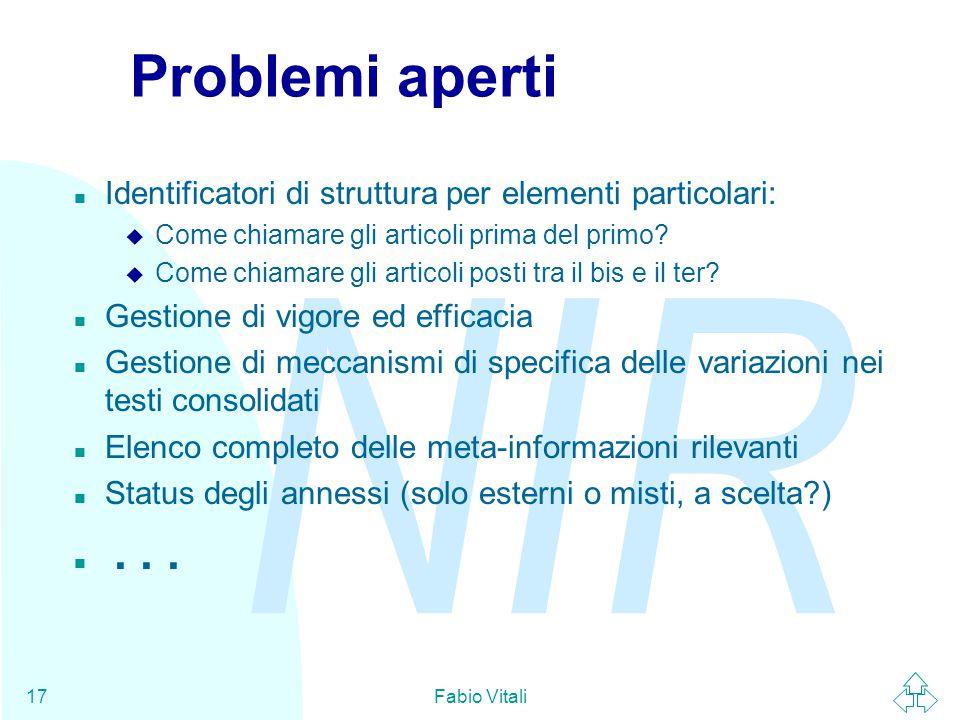 NIR Fabio Vitali17 Problemi aperti n Identificatori di struttura per elementi particolari: u Come chiamare gli articoli prima del primo.