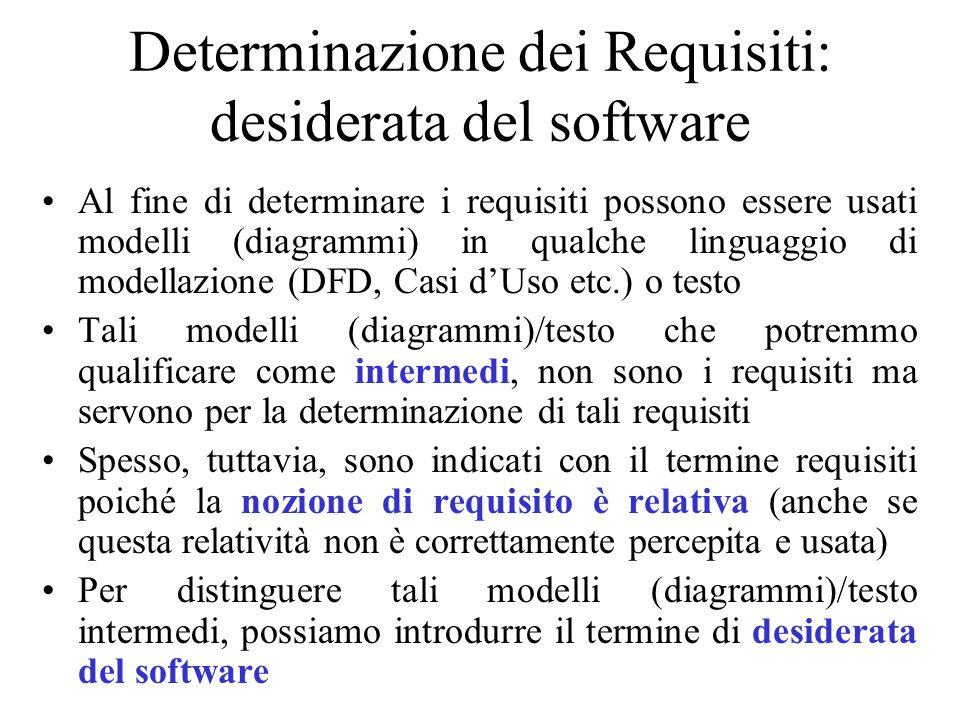 Al fine di determinare i requisiti possono essere usati modelli (diagrammi) in qualche linguaggio di modellazione (DFD, Casi d'Uso etc.) o testo Tali