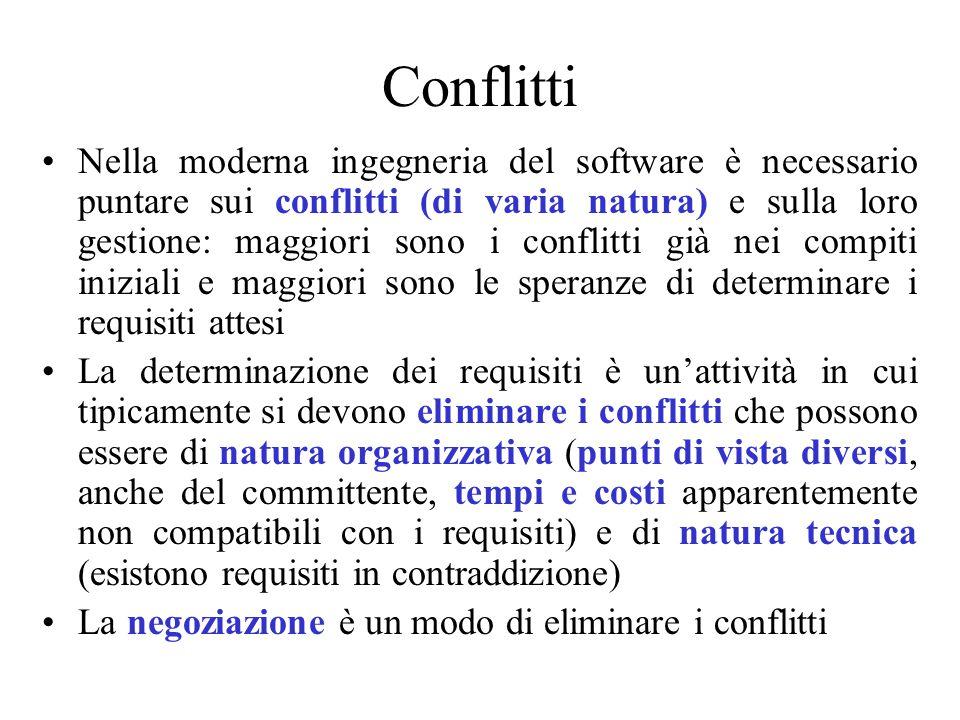Conflitti Nella moderna ingegneria del software è necessario puntare sui conflitti (di varia natura) e sulla loro gestione: maggiori sono i conflitti