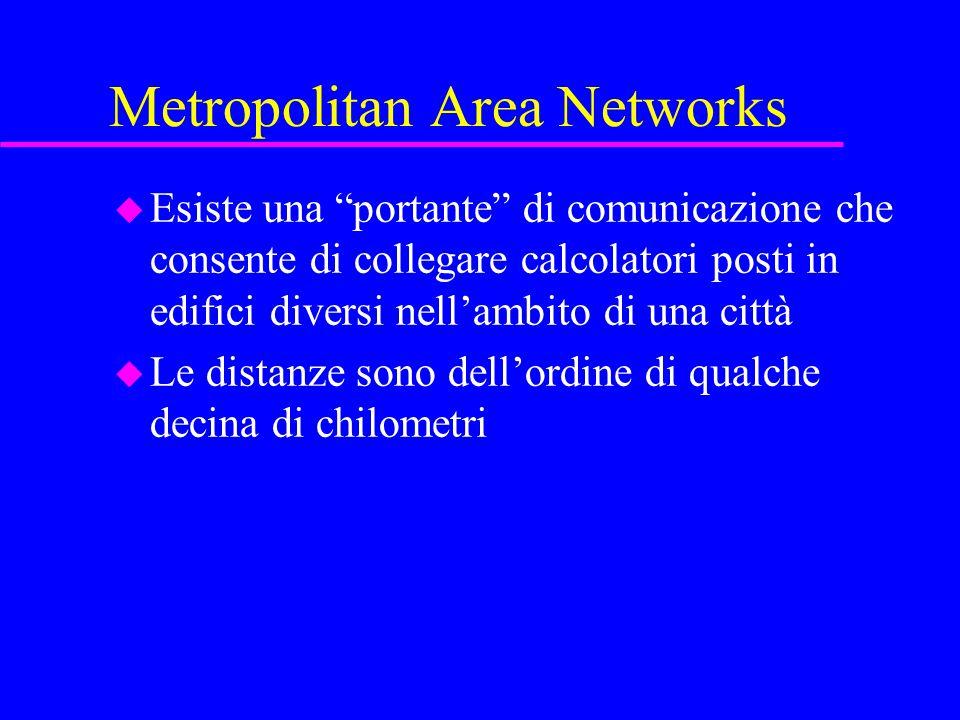 Metropolitan Area Networks u Esiste una portante di comunicazione che consente di collegare calcolatori posti in edifici diversi nell'ambito di una città u Le distanze sono dell'ordine di qualche decina di chilometri