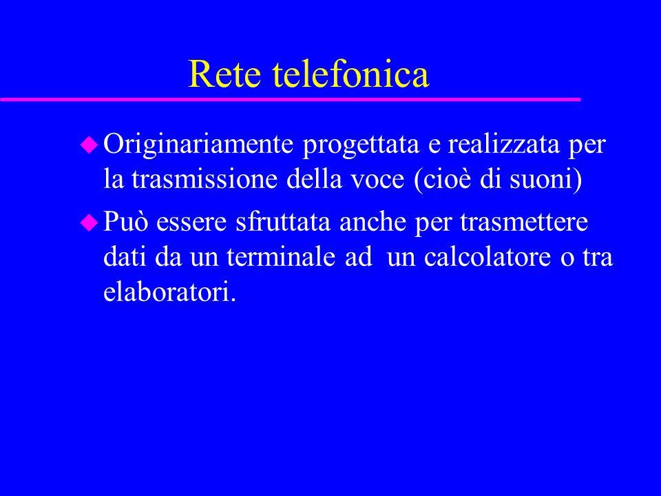 Rete telefonica u Originariamente progettata e realizzata per la trasmissione della voce (cioè di suoni) u Può essere sfruttata anche per trasmettere dati da un terminale ad un calcolatore o tra elaboratori.