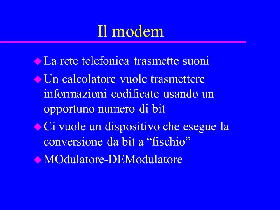 Il modem u La rete telefonica trasmette suoni u Un calcolatore vuole trasmettere informazioni codificate usando un opportuno numero di bit u Ci vuole un dispositivo che esegue la conversione da bit a fischio u MOdulatore-DEModulatore