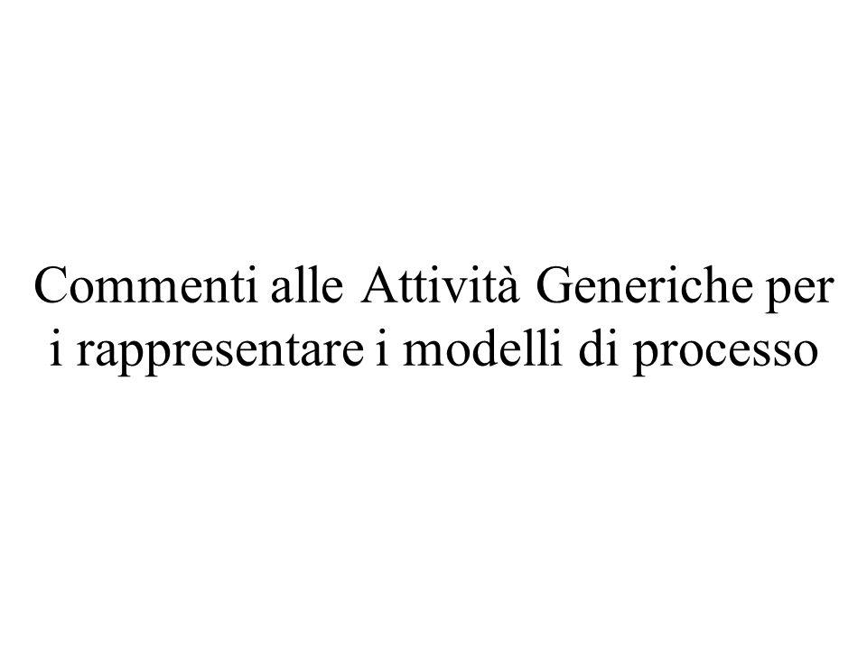 Commenti alle Attività Generiche per i rappresentare i modelli di processo