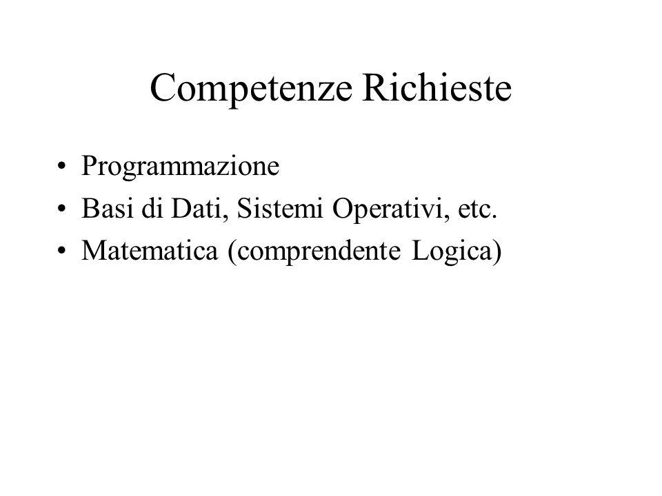 Competenze Richieste Programmazione Basi di Dati, Sistemi Operativi, etc.