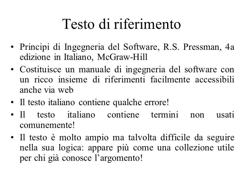 Testo di riferimento Principi di Ingegneria del Software, R.S.
